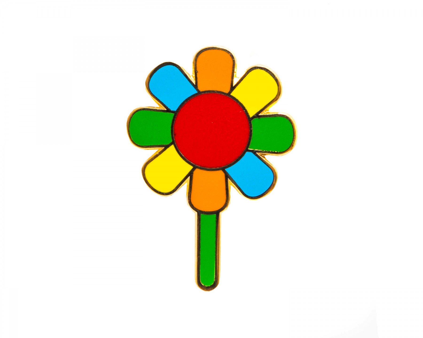 Rainbow flower enamel pin
