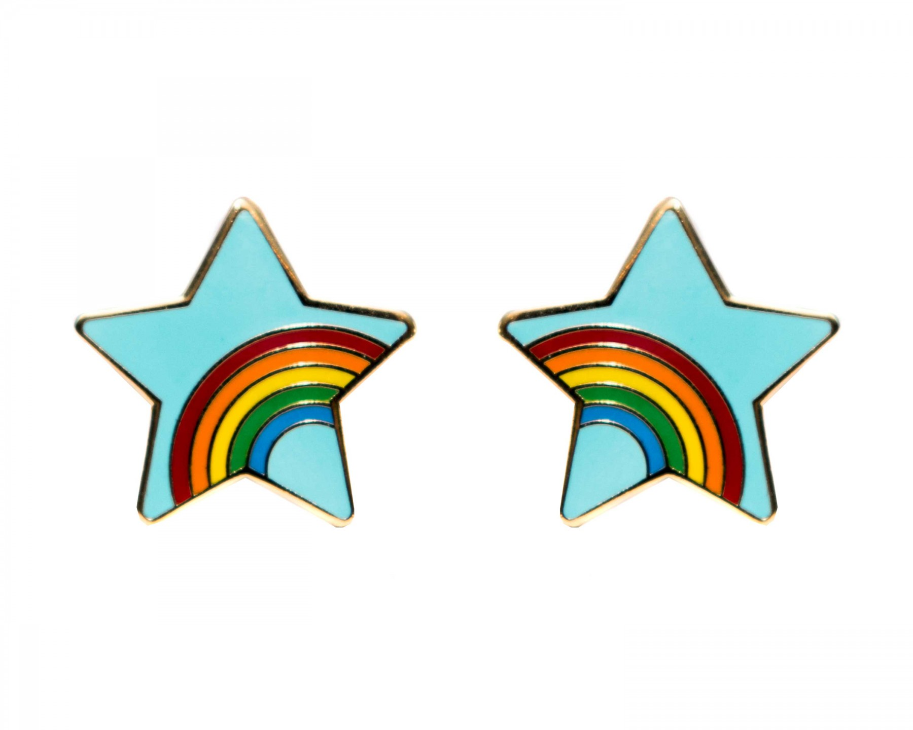 Rainbow star cufflinks